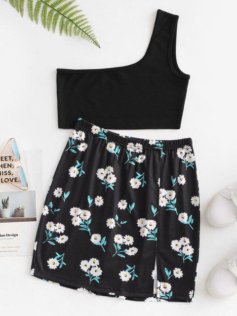 online Flower Ribbed One Shoulder Slit Skirt Set - BLACK M Mobile