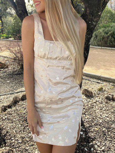 Ruched Jacquard Silky Front Slit Mini Dress - Light Coffee L