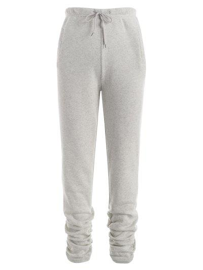 Drawstring Camo Pockets Fleece Lined Stacked Pants - Gray M