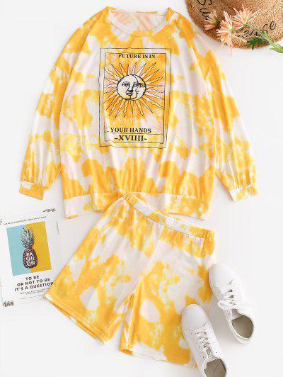 Tie Dye Oversized Sun Print Two Piece Shorts Set - Yellow S