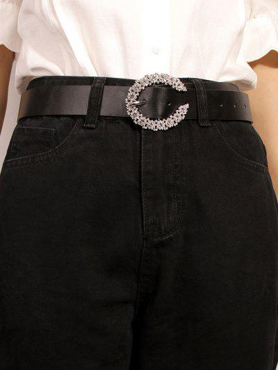 C-shaped Diamante Buckle Belt - Black