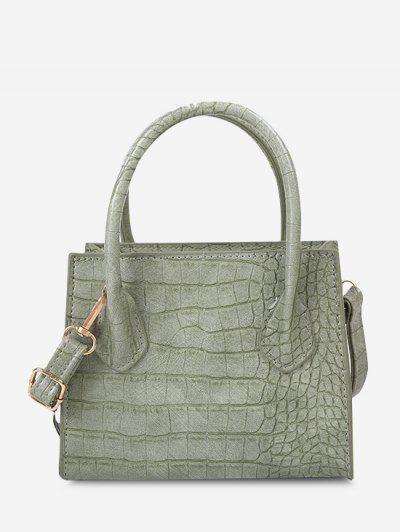Textured Solid Square Handbag - Dark Sea Green