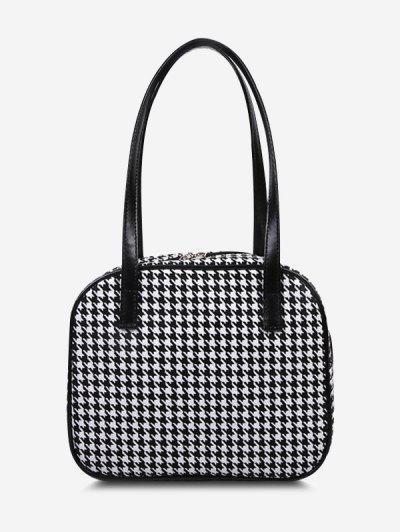Retro All-Over Houndstooth Print Shoulder Bag - Black
