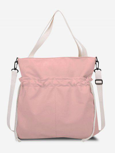 Drawstring Dual Handle Oversize Tote Bag - Pig Pink
