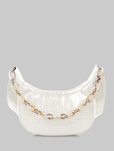 Chain Textured Crossbody Bag - White