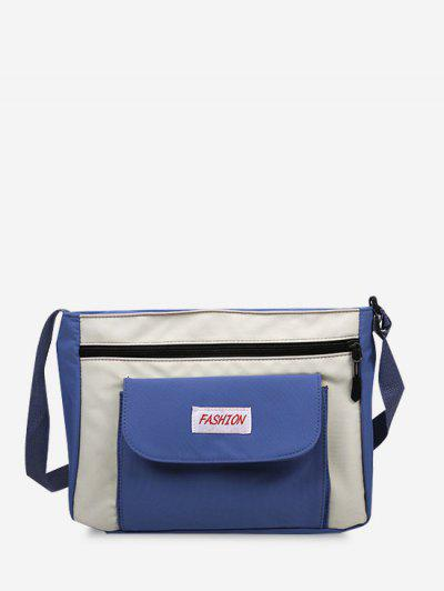 Letter Pattern Colorblock Crossbody Bag - Blueberry Blue