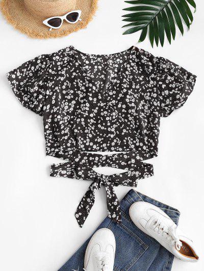 Ditsy Floral Surplice Flutter Sleeve Blouse - Black M