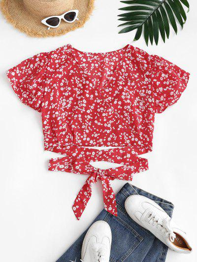 Ditsy Floral Surplice Flutter Sleeve Blouse - Red S