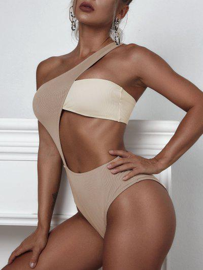ZAFUL Ribbed One Shoulder Two Tone Cutout One-piece Swimsuit - Light Coffee Xl