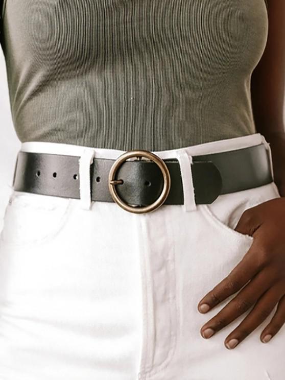 Retro Bronze Ring Pin Buckle Belt - أسود