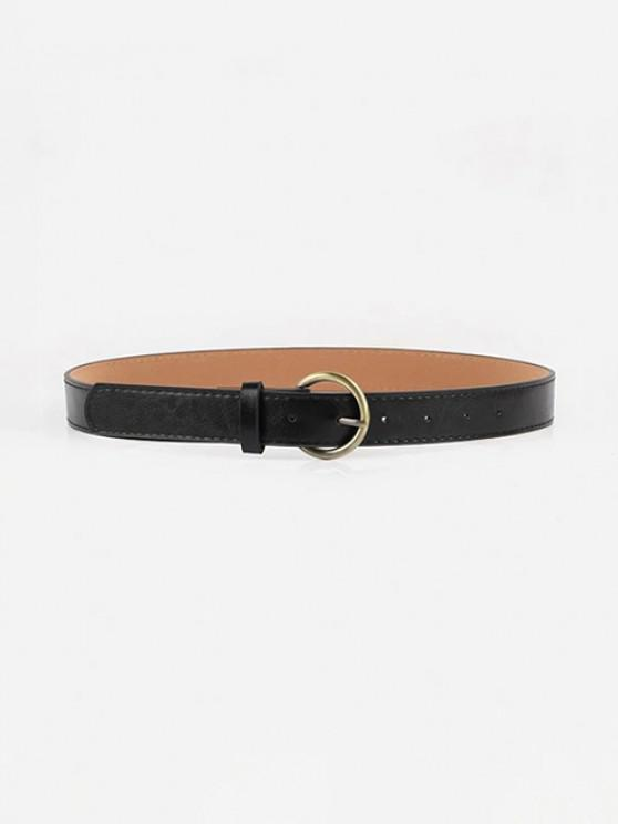 shop Metal Round Buckle PU Belt - BLACK
