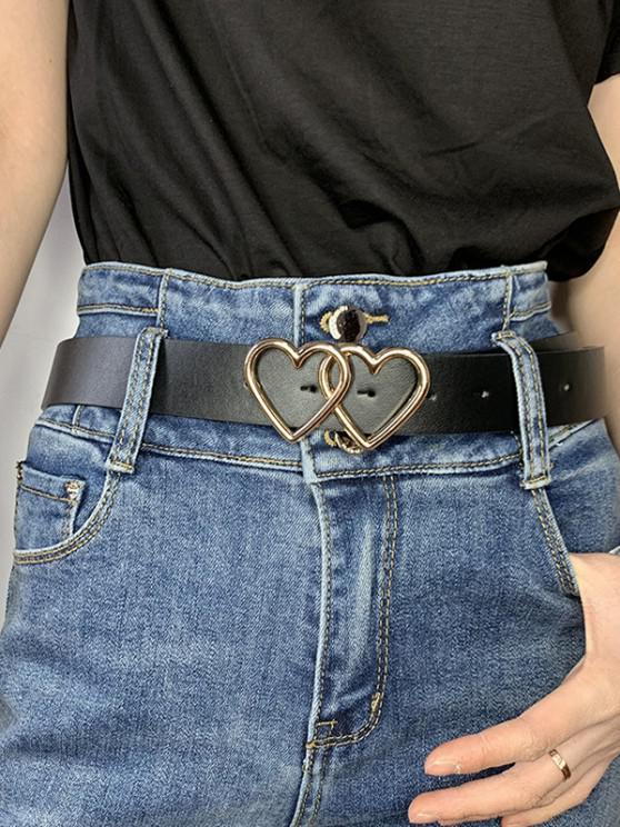 trendy Double Heart Ring Buckle Jeans Belt - BLACK