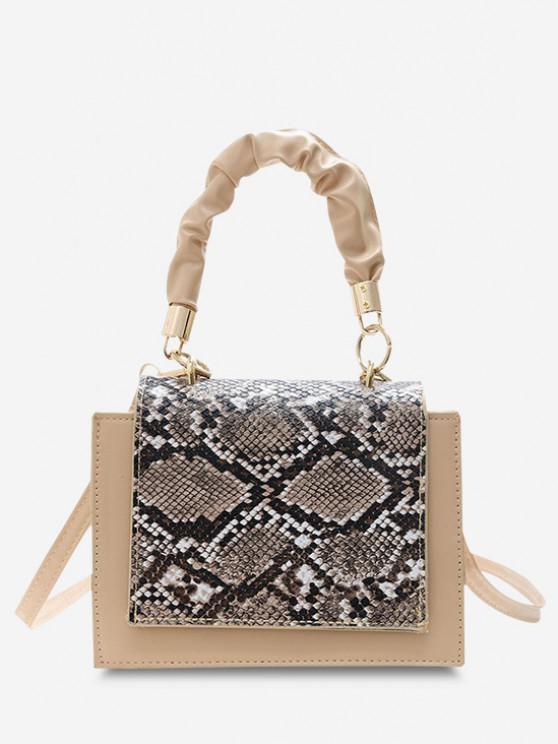 buy Snakeskin Pattern Cover Square Handbag - WARM WHITE