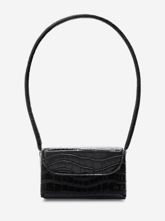 new Boxy Embossed Flap Mini Shoulder Bag - BLACK