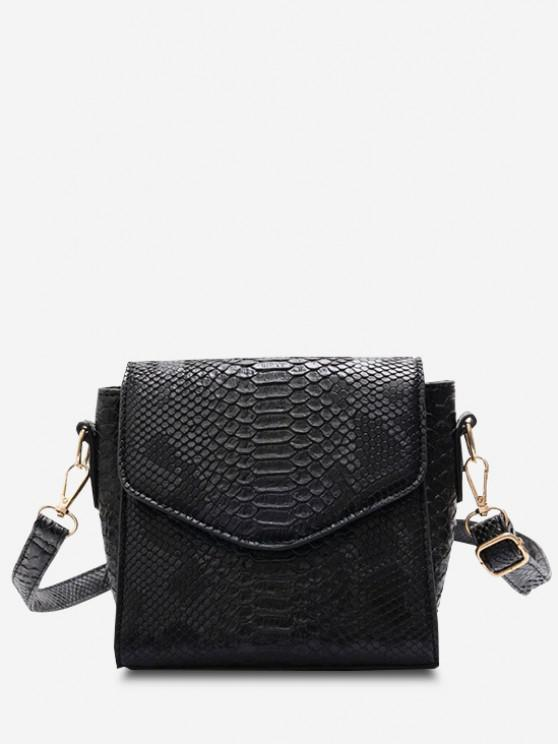 unique Snake Embossed Flap Square Crossbody Bag - BLACK