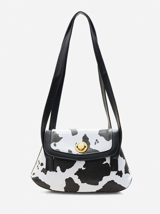 lady Cow Print Double Strap Flap Shoulder Bag - BLACK