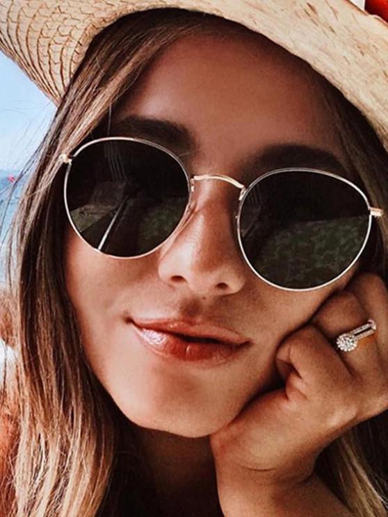 chic Oversize Round Frame Anti UV Metal Sunglasses - CHAMPAGNE GOLD