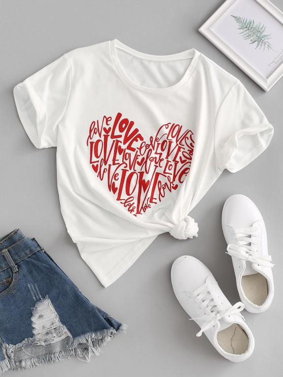 shops Love Heart Graphic Tee - WHITE S