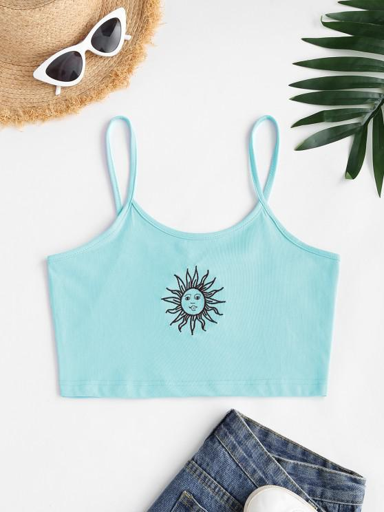 lady Sun Embroidered Crop Cami Top - LIGHT BLUE M
