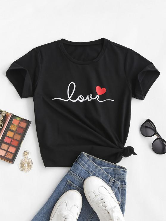 fashion Love Heart Print T-shirt - BLACK L