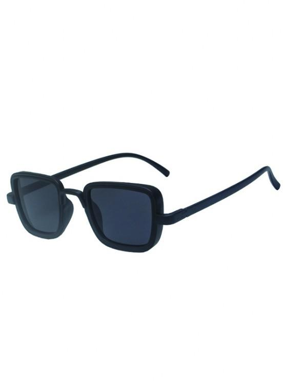 fancy Retro Solid Square Sunglasses - BLACK