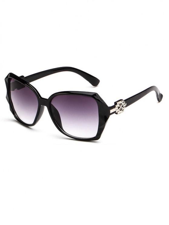 unique Ombre Embellished Temple Sunglasses - BLACK