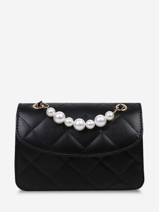 unique Lattice-Quilted Faux Pearl Flap Crossbody Bag - BLACK