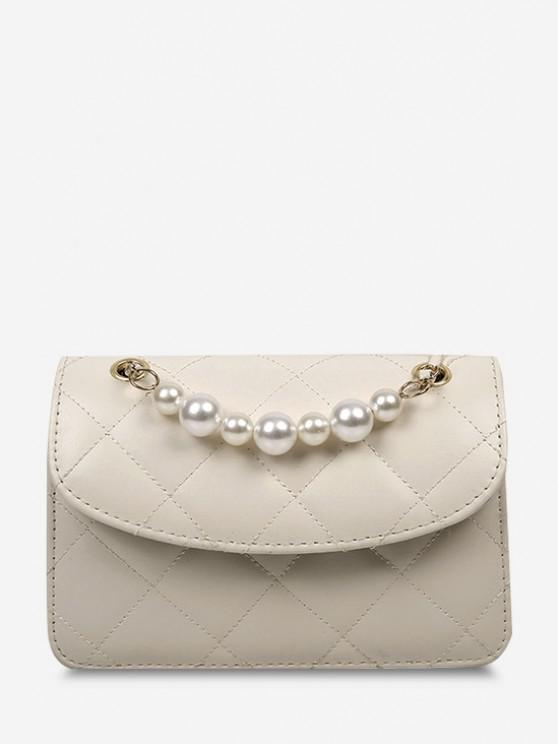 sale Lattice-Quilted Faux Pearl Flap Crossbody Bag - WHITE