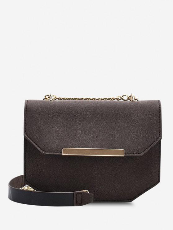womens Irregular Suede Cover Chain Crossbody Bag - DEEP COFFEE