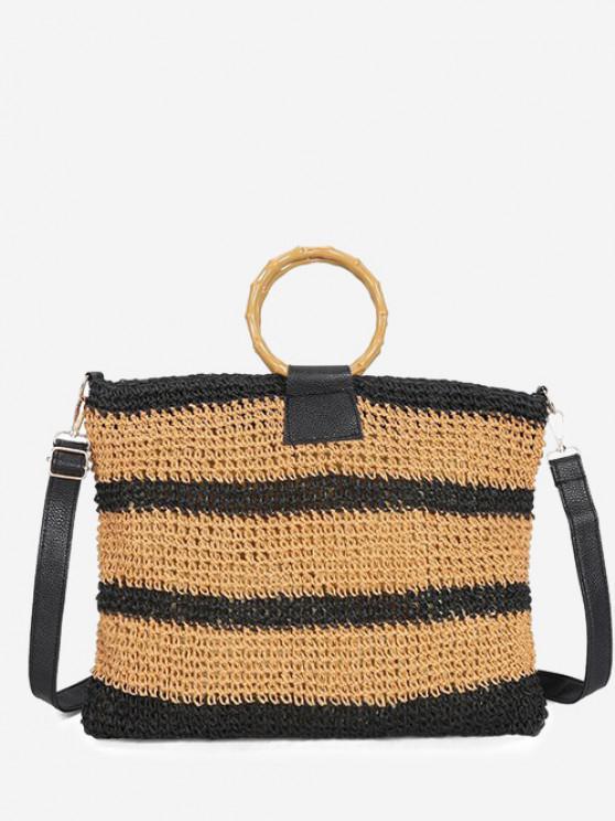 women Striped Straw Weave Crossbody Bag - BLACK