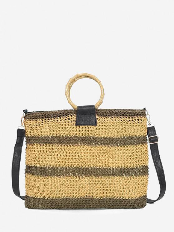women's Striped Straw Weave Crossbody Bag - LIGHT BROWN