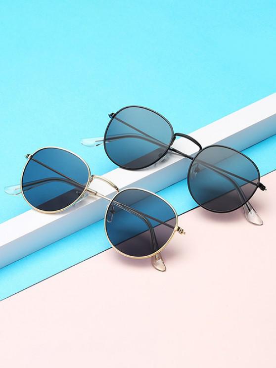 Brief Metal Circular Sunglasses - أسود