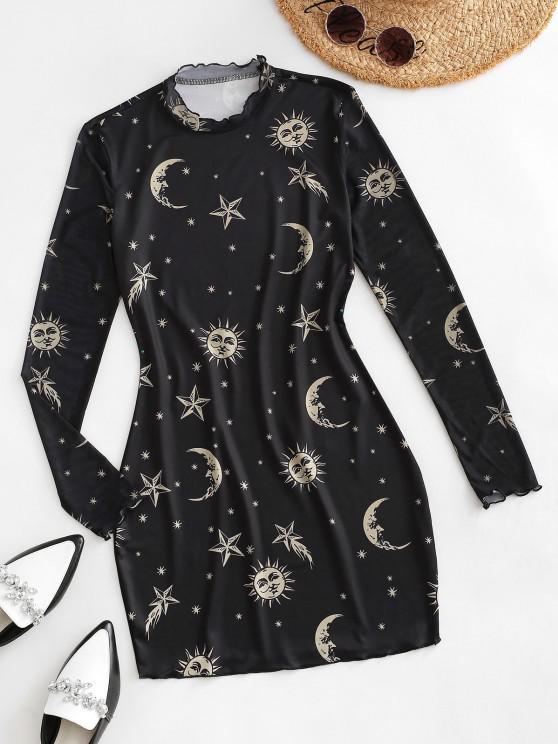 women Frilled Sun Star Moon Print Mesh Sleeve Slinky Bodycon Dress - BLACK S