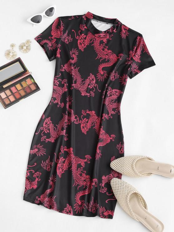 chic Oriental Dragon Print Slinky Bodycon Tee Dress - RED M