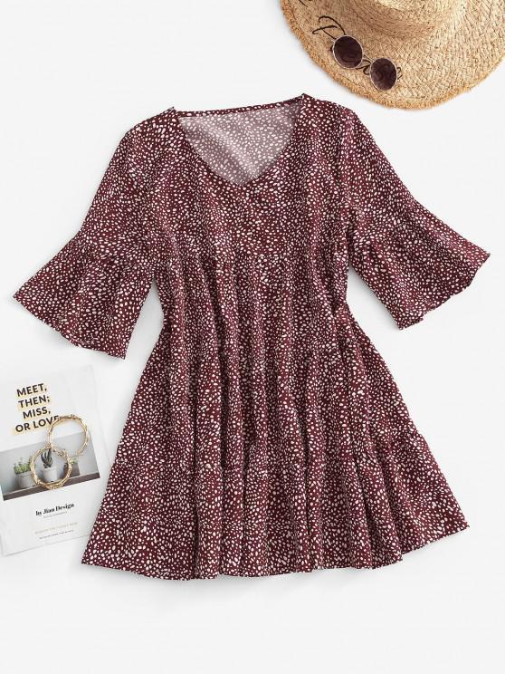 Mini Robe Plissée Superposée à Pois - Rouge foncé M