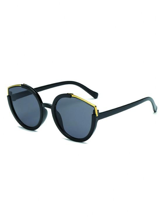 fancy Metal Splicing Frame Sunglasses - BLACK
