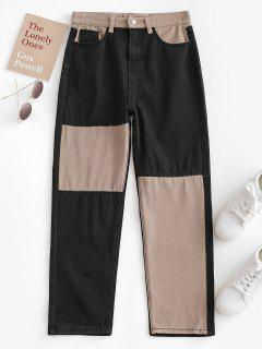 Bicolor Patchwork Straight Jeans - Coffee M