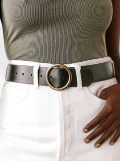 Retro Bronze Ring Pin Buckle Belt - Black
