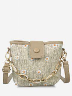 Daisy Hemp Woven Spliced Shoulder Bag - Light Khaki