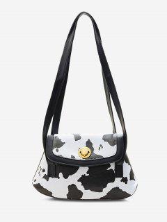 Vaca Impressão De Vaca Flap Bolsa De Ombro - Preto