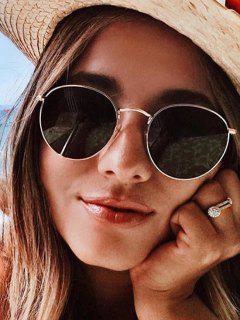 Oversize Round Frame Anti UV Metal Sunglasses - Champagne Gold