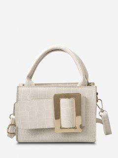 Embossed Dual Handle Buckle Shoulder Bag - Cool White