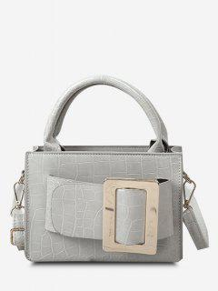 Embossed Dual Handle Buckle Shoulder Bag - Light Gray