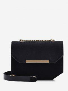 Irregular Suede Cover Chain Crossbody Bag - Black