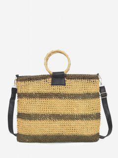 Striped Straw Weave Crossbody Bag - Light Brown