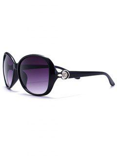 Óculos De Sol Aviador Com Armação Metalizada Prateada - Roxa