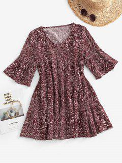 Dotted Tiered Mini Smock Dress - Deep Red M