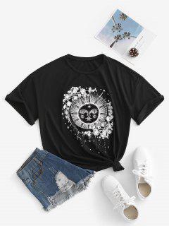 Camisa Plus-size Estampada Em Estilo Literário Floral - Preto M