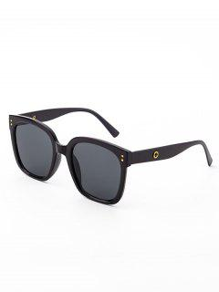 Square Frame Wide Arm Stud Sunglasses - Black