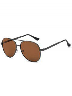 Oval Shape Metal Frame Crossbar Sunglasses - Brown